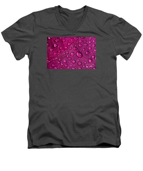 Rain And Bougainvillea Petals Men's V-Neck T-Shirt by Angelo DeVal