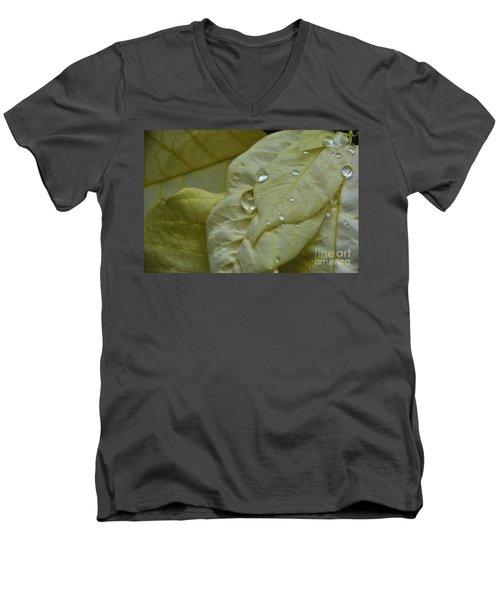 Rain Drops On A  White Poinsettia Men's V-Neck T-Shirt