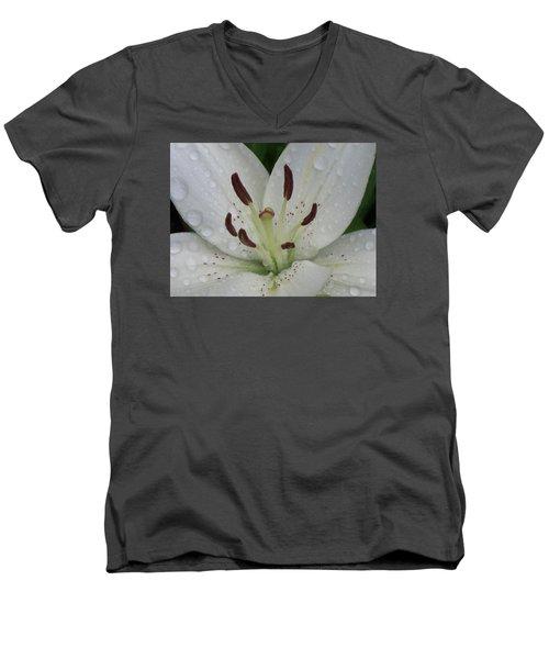 Rain Drops On Lily Men's V-Neck T-Shirt