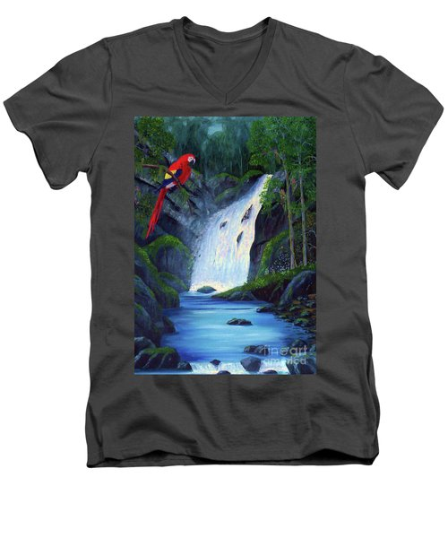 Rain Forest Macaws Men's V-Neck T-Shirt by Stanton Allaben