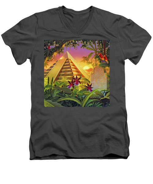 Rain Forest Pyramid  Men's V-Neck T-Shirt