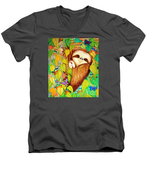 Rain Forest Survival Mother And Baby Three Toed Sloth Men's V-Neck T-Shirt