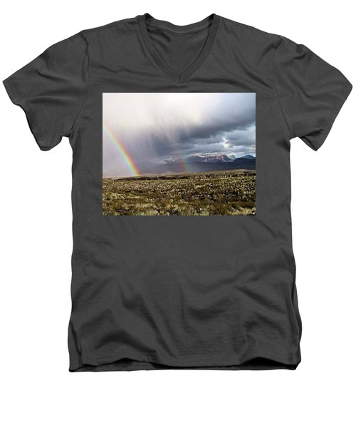 Men's V-Neck T-Shirt featuring the painting Rain In The Desert by Dennis Ciscel