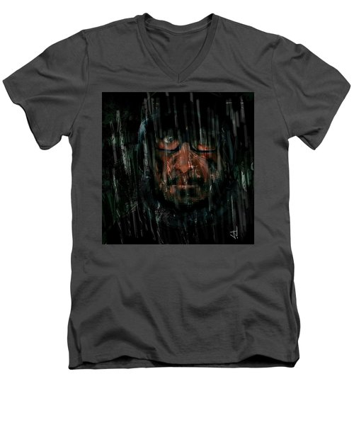 Men's V-Neck T-Shirt featuring the painting Rain Nor Sleet Nor Snow by Jim Vance