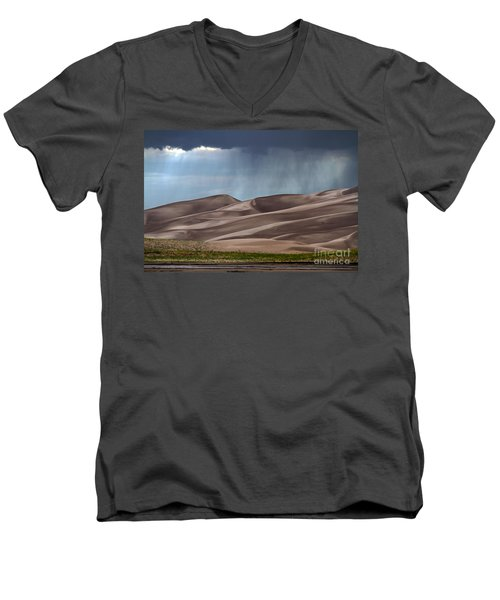 Rain On The Great Sand Dunes Men's V-Neck T-Shirt by Catherine Sherman