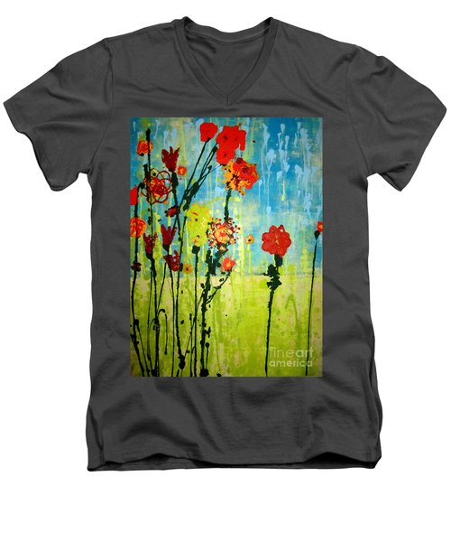 Men's V-Neck T-Shirt featuring the painting Rain Or Shine by Ashley Price