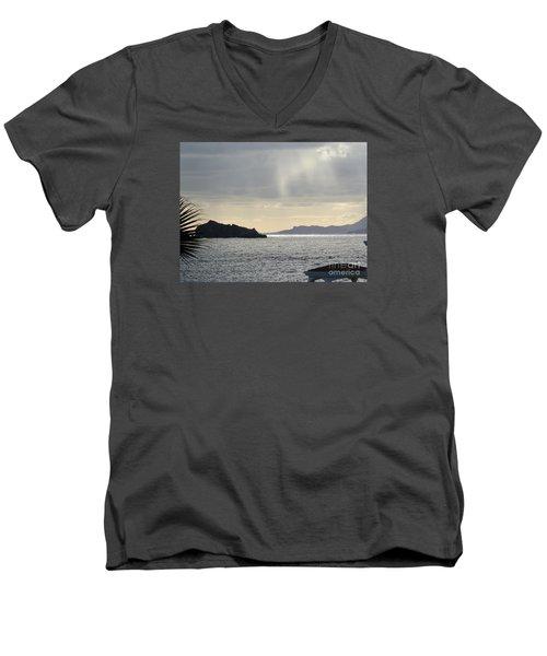 Rain Over Pelican Key Men's V-Neck T-Shirt by Margaret Brooks