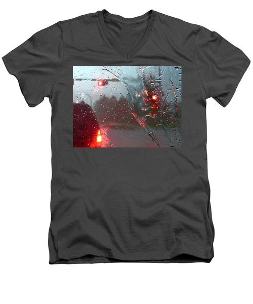 Rain Men's V-Neck T-Shirt by Rhonda McDougall