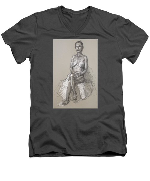 Men's V-Neck T-Shirt featuring the drawing Rain Seated #2 by Donelli  DiMaria