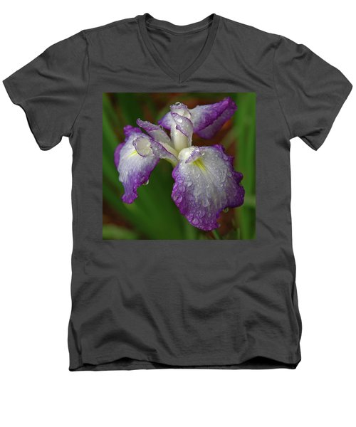 Rain-soaked Iris Men's V-Neck T-Shirt by Marie Hicks