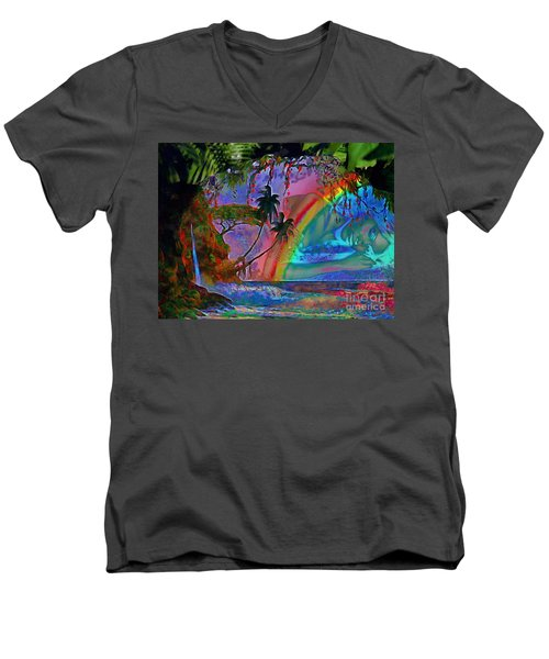 Rainboow Drenched In Layers Men's V-Neck T-Shirt by Catherine Lott