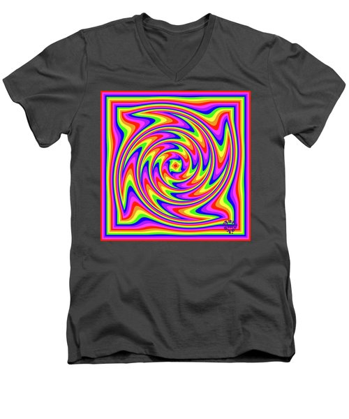 Men's V-Neck T-Shirt featuring the digital art Rainbow #2 by Barbara Tristan