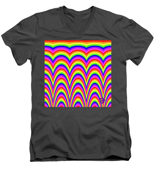 Men's V-Neck T-Shirt featuring the digital art Rainbow #4 by Barbara Tristan