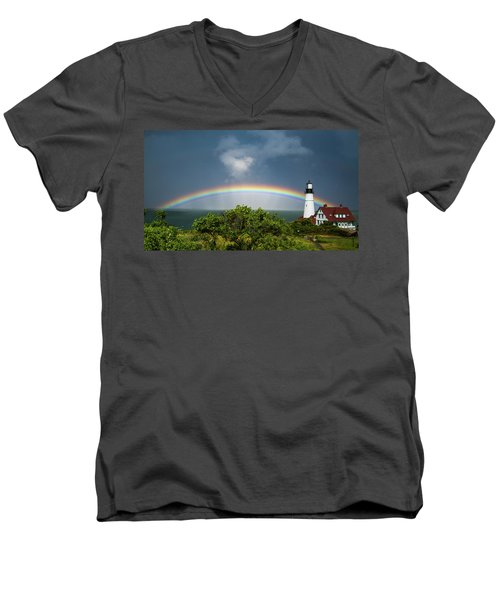Rainbow At Portland Headlight Men's V-Neck T-Shirt