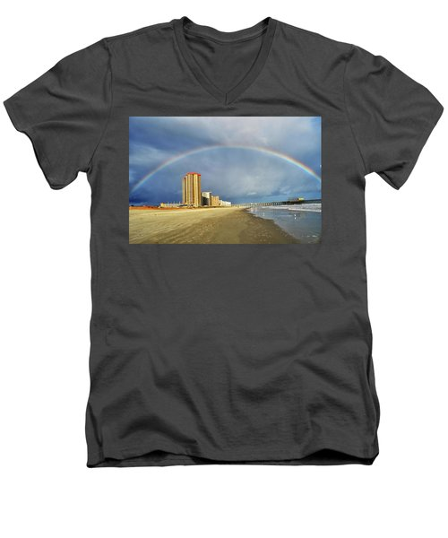 Men's V-Neck T-Shirt featuring the photograph Rainbow Beach by Kelly Reber