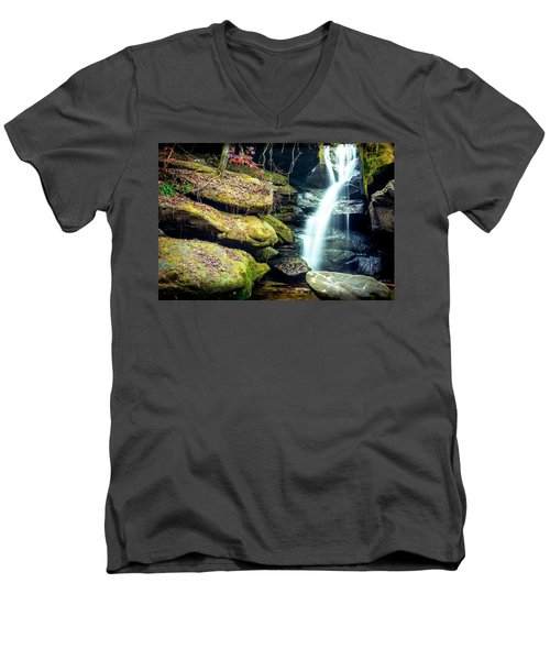 Men's V-Neck T-Shirt featuring the photograph Rainbow Falls At Dismals Canyon by David Morefield