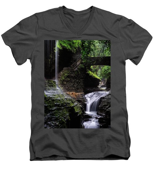 Men's V-Neck T-Shirt featuring the photograph Rainbow Falls by Edgars Erglis