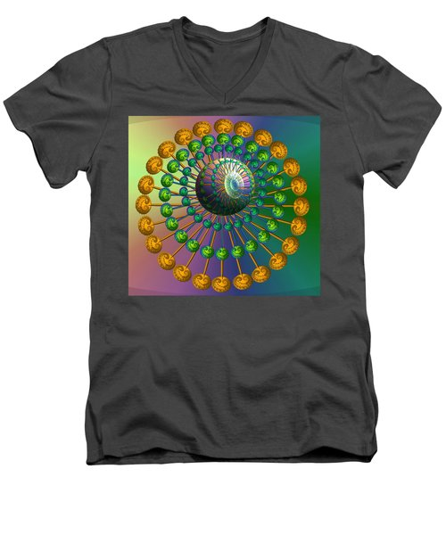 Rainbow Fractal Men's V-Neck T-Shirt