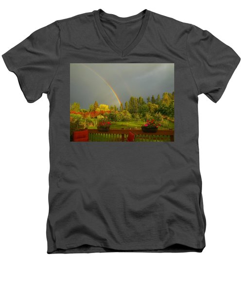 Rainbow From The Back Deck Men's V-Neck T-Shirt