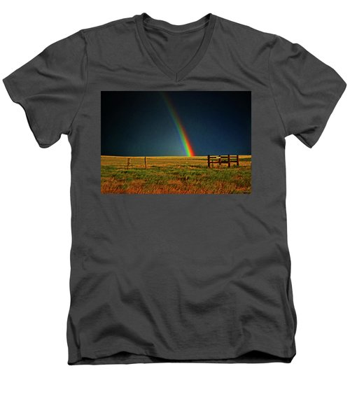 Men's V-Neck T-Shirt featuring the photograph Rainbow In A Field 001 by George Bostian