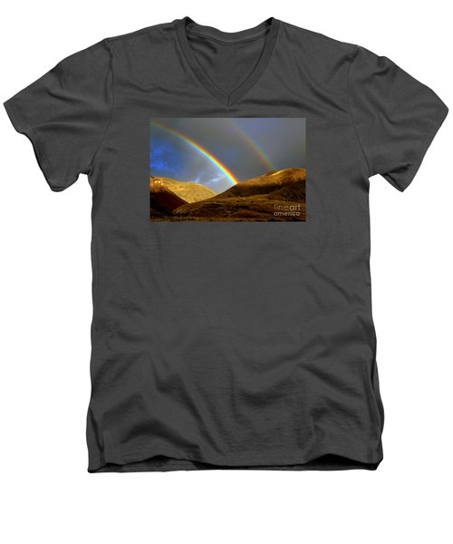 Men's V-Neck T-Shirt featuring the photograph Rainbow In Mountains by Irina Hays