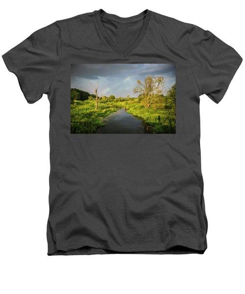 Rainbow Men's V-Neck T-Shirt by Jaroslaw Grudzinski