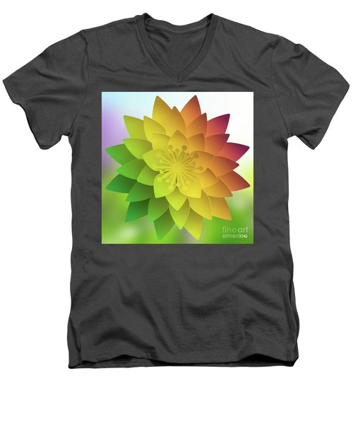 Men's V-Neck T-Shirt featuring the digital art Rainbow Lotus by Mo T