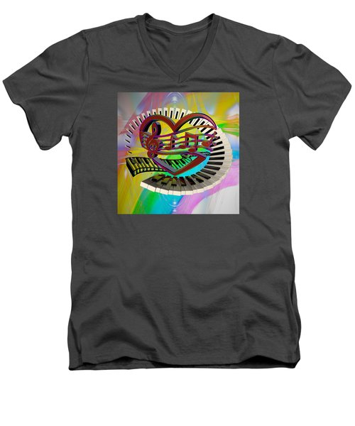 Rainbow Love Of Music  Men's V-Neck T-Shirt by Louis Ferreira