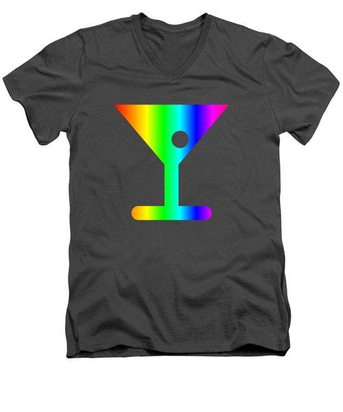 Rainbow Martini Glass Men's V-Neck T-Shirt