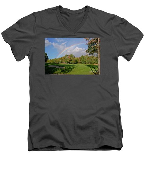 Rainbow Over # 6 Men's V-Neck T-Shirt by Butch Lombardi