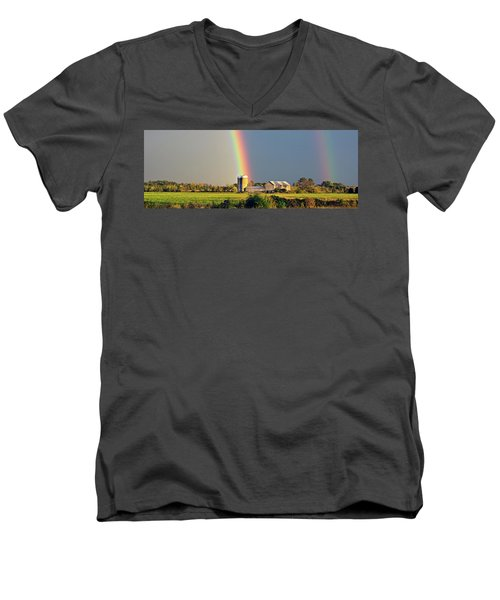 Rainbow Over Barn Silo Men's V-Neck T-Shirt
