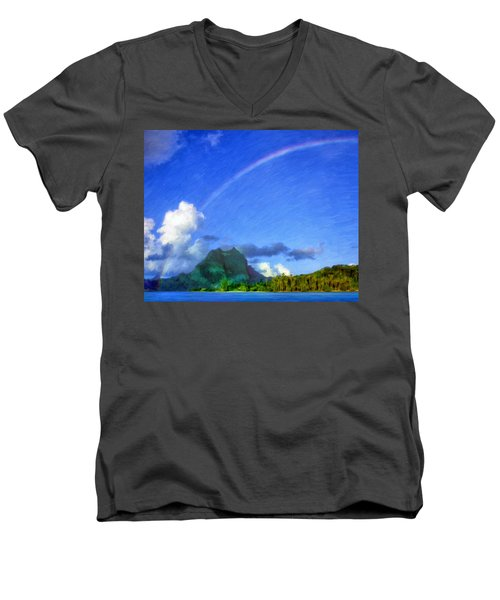 Rainbow Over Bora Bora Men's V-Neck T-Shirt