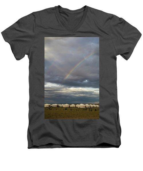 Men's V-Neck T-Shirt featuring the photograph Rainbow Over Ger Camp, Gobi, 2016 by Hitendra SINKAR