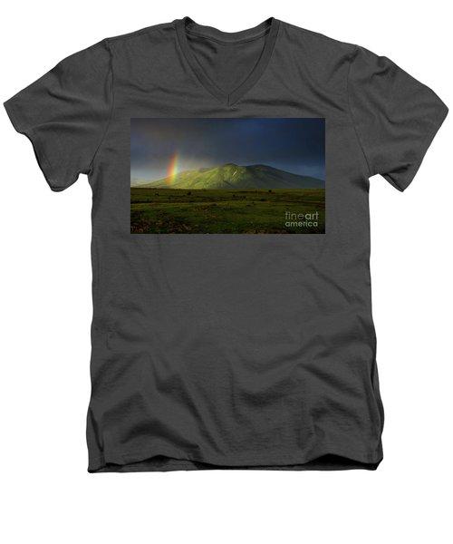 Rainbow Over Mount Ara After Storm, Armenia Men's V-Neck T-Shirt