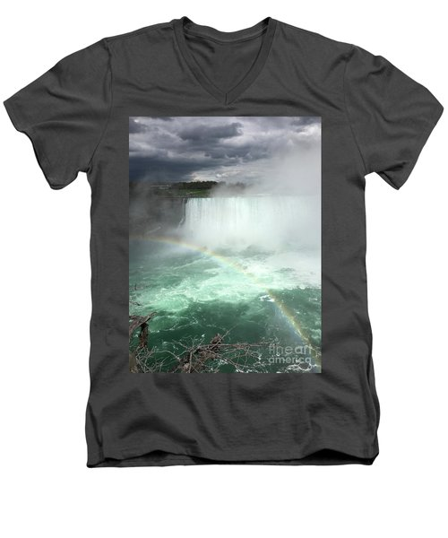 Rainbow Over Niagara Falls Men's V-Neck T-Shirt