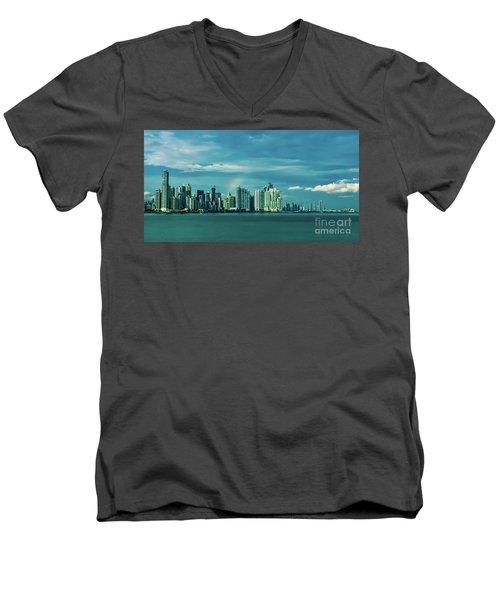 Rainbow Over Panama City Men's V-Neck T-Shirt