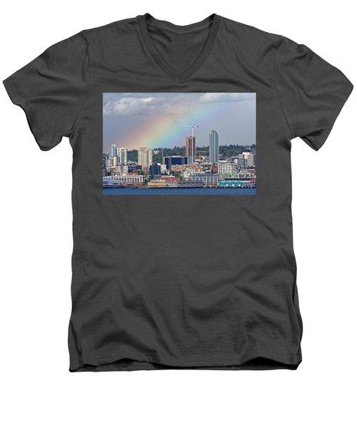 Rainbow Over Seattle Men's V-Neck T-Shirt