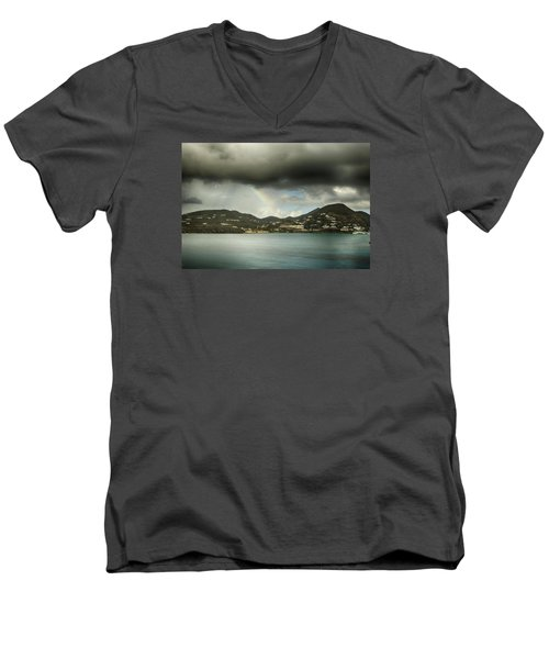 Men's V-Neck T-Shirt featuring the photograph Rainbow Over St. Maarten by Coby Cooper
