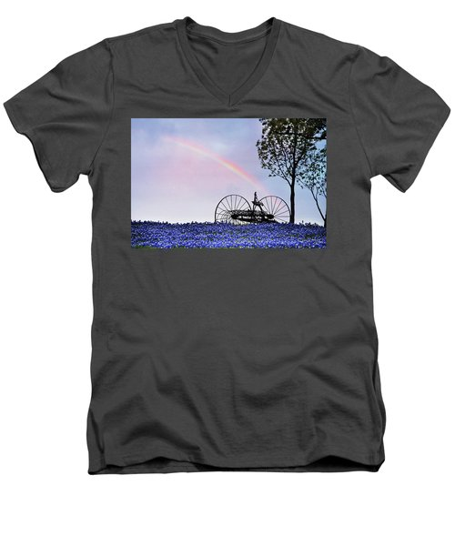 Rainbow Over Texas Bluebonnets Men's V-Neck T-Shirt by David and Carol Kelly