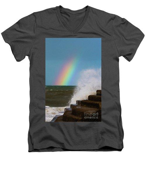 Rainbow Over The Crashing Waves Men's V-Neck T-Shirt
