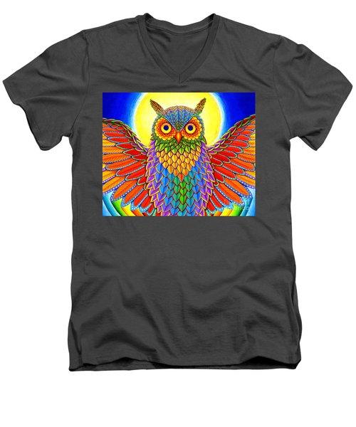 Rainbow Owl Men's V-Neck T-Shirt