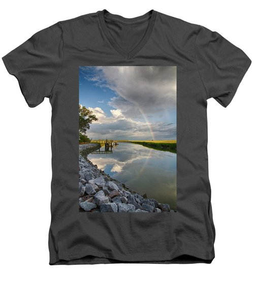 Rainbow Reflection Men's V-Neck T-Shirt by Patricia Schaefer