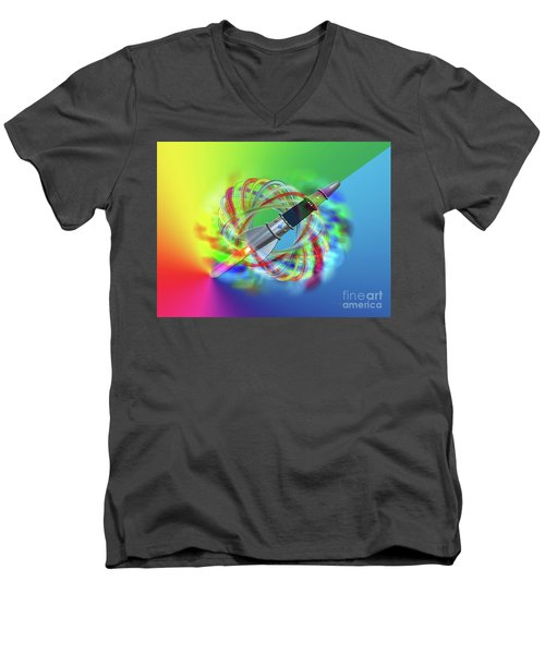 Men's V-Neck T-Shirt featuring the photograph Rainbow Rocket Orbits by Rockin Docks Deluxephotos