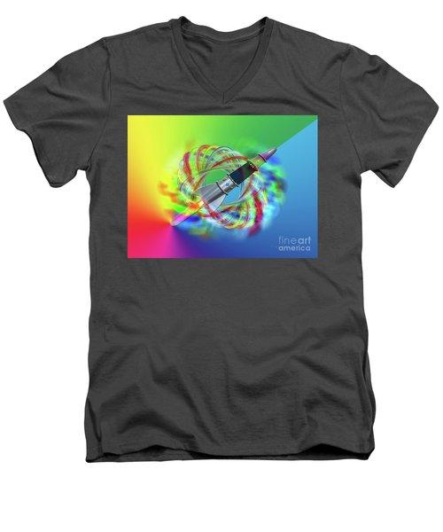 Rainbow Rocket Orbits Men's V-Neck T-Shirt