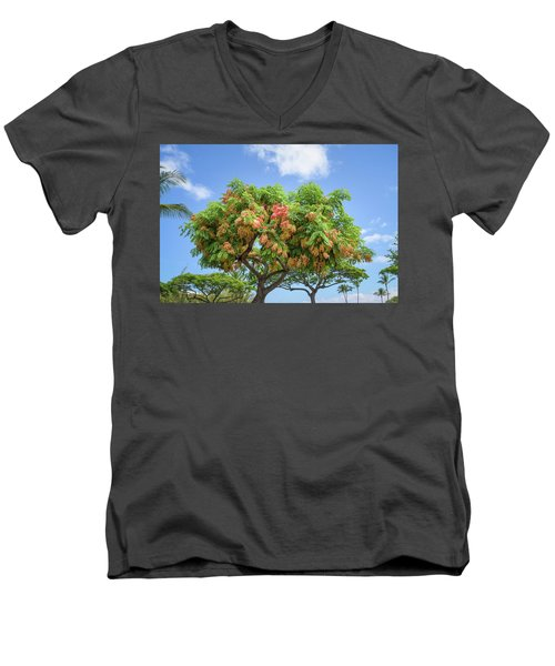 Men's V-Neck T-Shirt featuring the photograph Rainbow Shower Tree 1 by Jim Thompson