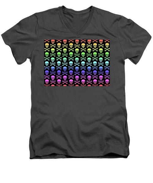 Rainbow Skull And Crossbones Men's V-Neck T-Shirt by Roseanne Jones