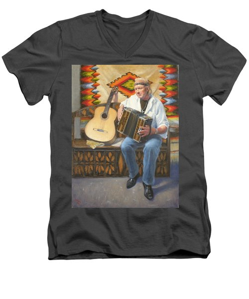 Men's V-Neck T-Shirt featuring the painting Rainbow Sky by Donelli  DiMaria