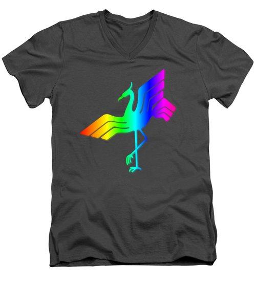 Rainbow Stork Men's V-Neck T-Shirt by Frederick Holiday