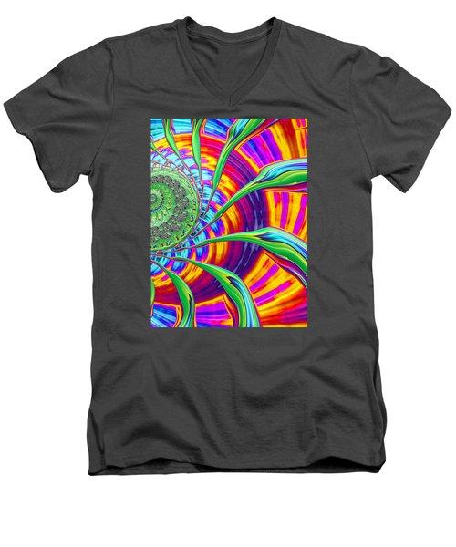Men's V-Neck T-Shirt featuring the photograph Rainbow Sun by Ronda Broatch