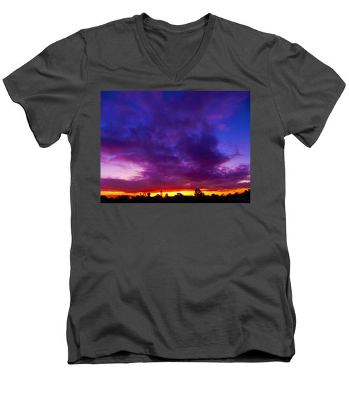 Rainbow Sunset Men's V-Neck T-Shirt by Mark Blauhoefer